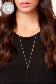 LULUS Exclusive Monolith Gold Pendant Necklace