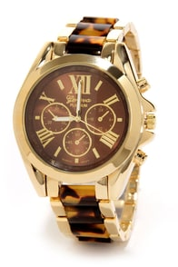 Clock In Gold and Tortoiseshell Watch at Lulus.com!