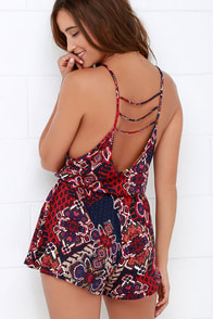 Lucy Love Pool Party Red Print Romper at Lulus.com!