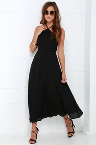 Calligraphy Class Black Halter Midi Dress at Lulus.com!
