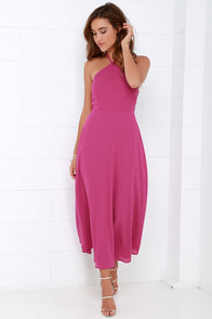 Calligraphy Class Magenta Halter Midi Dress at Lulus.com!