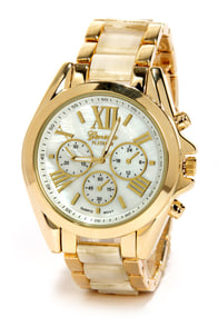 Clock In Gold and Beige Watch at Lulus.com!