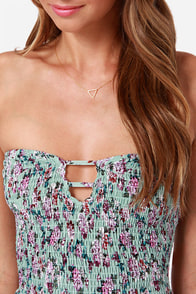 Bloom Me Away Strapless Mint Floral Print Dress at Lulus.com!