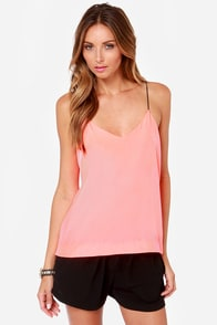 Drama Queen Neon Coral Top at Lulus.com!