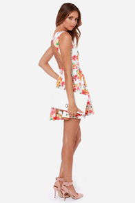 Pollen All Ivory and Red Floral Print Dress at Lulus.com!