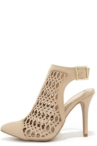 Que Romantico Nude Slingback Laser Cut Heels at Lulus.com!
