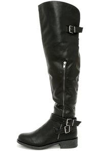 Bike Enthusiast Black Over the Knee Boots at Lulus.com!