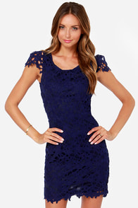 Dear Me! Navy Blue Lace Dress at Lulus.com!