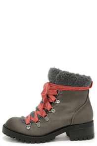 Madden Girl Bunt Stone Multi Grey Lace-Up Boots at Lulus.com!