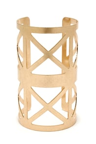 X Machina Gold Cuff Bracelet at Lulus.com!