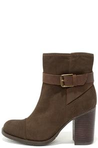Mia Heritage Eileen Mushroom Brown Leather High Heel Ankle Boots at Lulus.com!