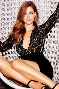 Swoon-er or Later Black Long Sleeve Lace Dress