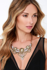 Champagne Pop Gold Rhinestone Statement Necklace at Lulus.com!