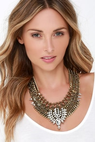 All At Once Gold Rhinestone Layered Statement Necklace at Lulus.com!