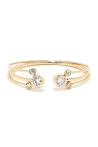 Star Light, Star Bright Gold Rhinestone Bangle Set at Lulus.com!