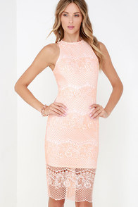 Elliatt Mood Peach Lace Midi Dress at Lulus.com!