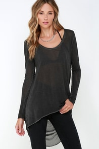 Black Swan Mia Washed Grey Long Sleeve Top at Lulus.com!