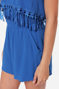 Play for Keeps Strapless Blue Romper at Lulus.com!