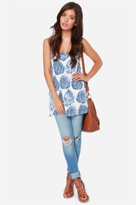JOA Sway Day Ivory and Blue Print Tank Top at Lulus.com!