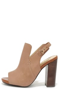 Sbicca Ursa Tan Multi Leather Peep-Toe Booties at Lulus.com!