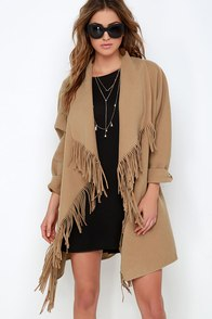JOA Road West Tan Fringe Coat at Lulus.com!
