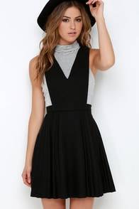 JOA Sophomore Sweetheart Black Pinafore Dress at Lulus.com!