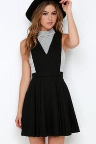 JOA Sophomore Sweetheart Black Pinafore Dress at Lulus.com!