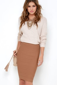 Beyond Words Brown Bandage Midi Skirt at Lulus.com!