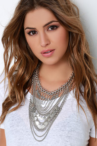 Boho Charm Silver Layered Statement Necklace at Lulus.com!