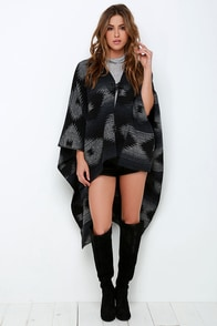 Others Follow Wild Winds Black Print Poncho at Lulus.com!