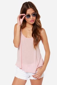 Net Amused Blush Pink Tank Top at Lulus.com!