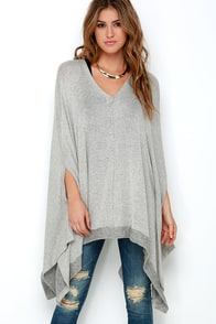 Project Social T Together is Better Grey Poncho at Lulus.com!