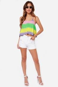 Skies So Blue Rainbow Tie-Dye Crop Top at Lulus.com!