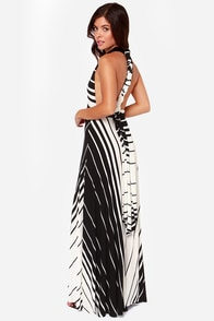 Switch Lanes Black and White Striped Maxi Dress at Lulus.com!