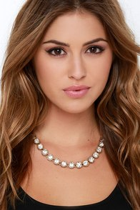 Treasure of Villena Gold Rhinestone Necklace at Lulus.com!