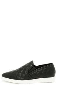 Stitch Trials Black Pointed Slip-On Flats at Lulus.com!