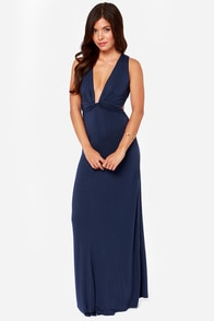 Knot A Bad Thing Navy Blue Maxi Dress at Lulus.com!