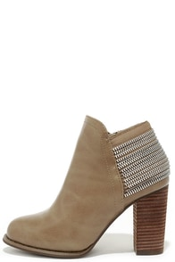 All Lined Out Taupe High Heel Booties at Lulus.com!