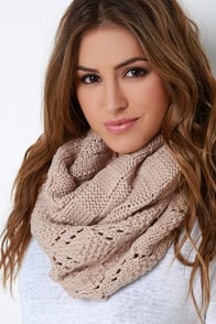 Still Water Beige Knit Infinity Scarf at Lulus.com!