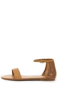 Madden Girl Kaacie Cognac Laser Cut Ankle Strap Sandals at Lulus.com!