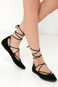 Steve Madden Eleanorr Black Suede Leather Ankle Wrap Flats at Lulus.com!