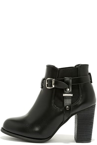 Buckle-ham Palace Black High Heel Booties at Lulus.com!