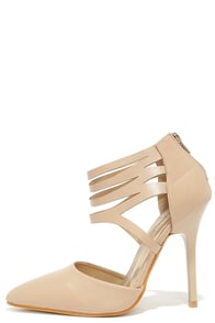 Views to Me Nude Cutout Pointed Pumps at Lulus.com!