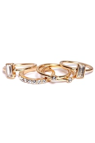 Set for Life Gold Rhinestone Ring Set at Lulus.com!