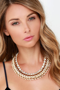 Dressed to the Nines Cream and Gold Collar Necklace at Lulus.com!