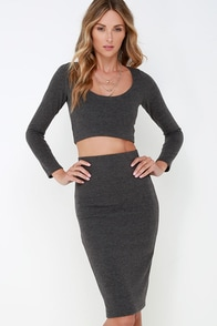 Set in Stone Dark Grey Two-Piece Dress at Lulus.com!