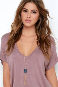La Vie Boheme Gold and Navy Blue Necklace at Lulus.com!