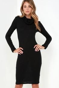 Glamorous Neck and Neck Black Long Sleeve Sweater Dress at Lulus.com!
