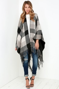 Glamorous Cozy Weather Grey Plaid Poncho at Lulus.com!