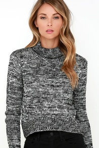 Mission Possible Black and Ivory Cropped Sweater at Lulus.com!